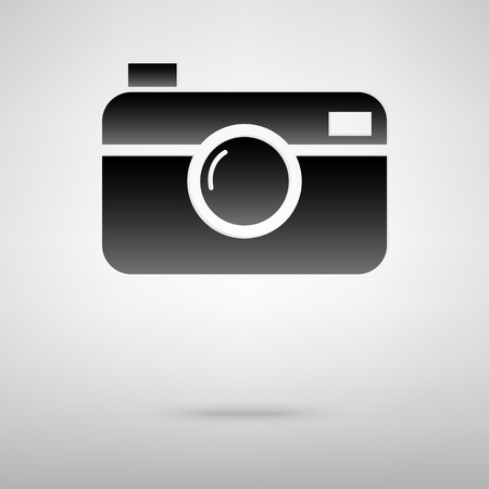 whim of fashion: Digital camera black icon. Vector illustration with shadow