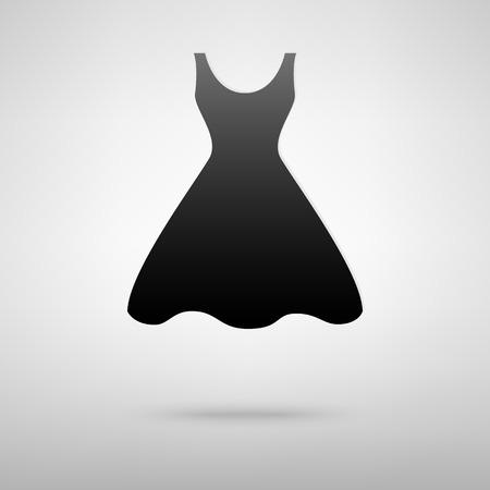 black dress: Dress black icon. Vector illustration with shadow Illustration