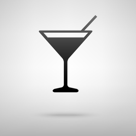 coctail: Coctail black icon. Vector illustration with shadow