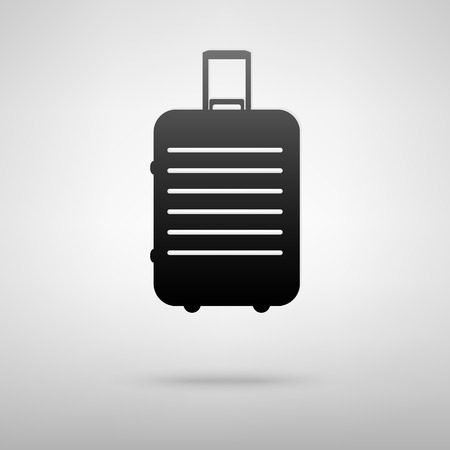 trolley case: Baggage black icon. Vector illustration with shadow