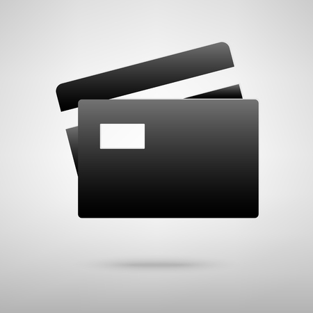 transact: Credit cards black icon. Vector illustration with shadow