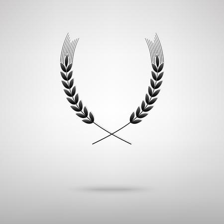 Trigo icono negro. Ilustración del vector con la sombra Ilustración de vector