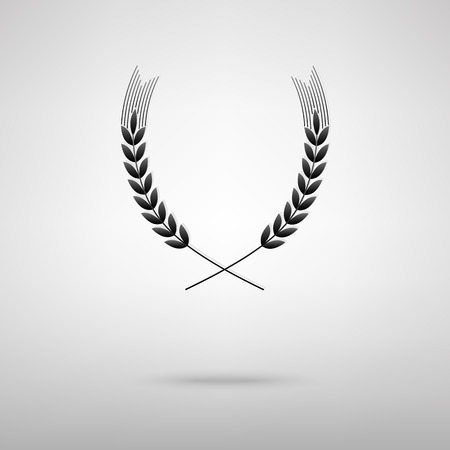 Wheat black icon. Vector illustration with shadow