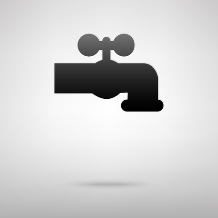 spew: Water faucet black icon. Vector illustration with shadow