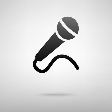 amplification: Microphone black icon. Vector illustration with shadow