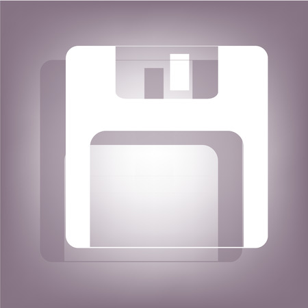 old pc: Floppy disk icon with shadow on perple background. Flat style.