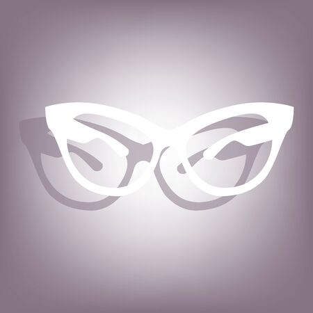 protective eyewear: Stylish sunglasses icon with shadow on perple background. Flat style.