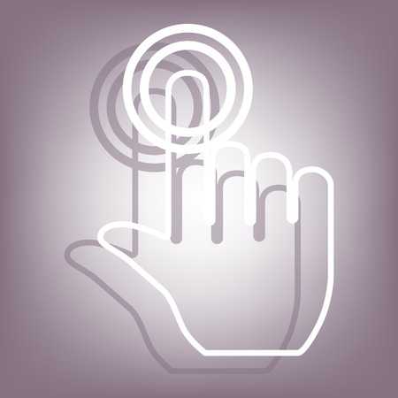 depress: Hand icon with shadow on perple background. Flat style.