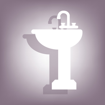 necessity: Bathroom sink icon with shadow on perple background. Flat style.