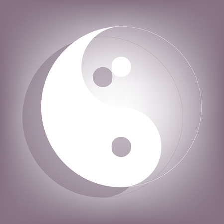 yang style: Ying yang symbol of harmony and balance icon with shadow on perple background. Flat style.