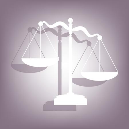 balanza de la justicia: Escalas de la justicia icono con sombra sobre fondo perple. estilo plano.