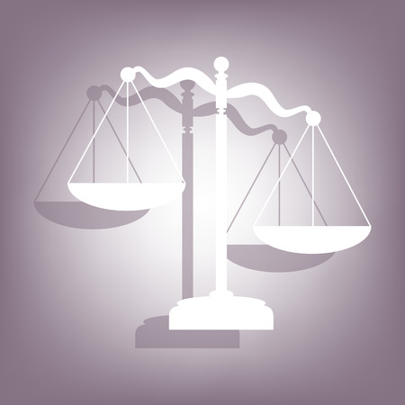 weight scales: Scales of Justice icon with shadow on perple background. Flat style.