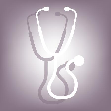 estetoscopio: icono estetoscopio con la sombra en el fondo perple. estilo plano.