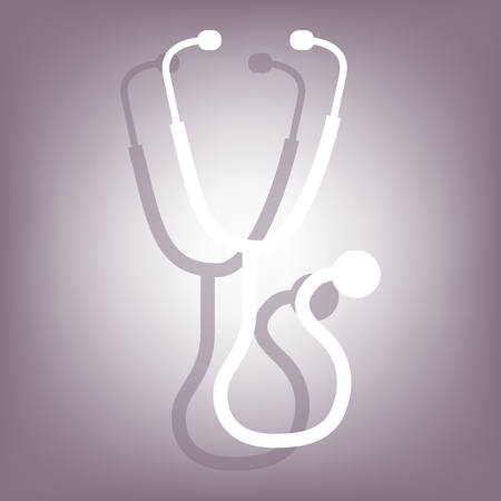 io: Stethoscope icon with shadow on perple background. Flat style. Illustration