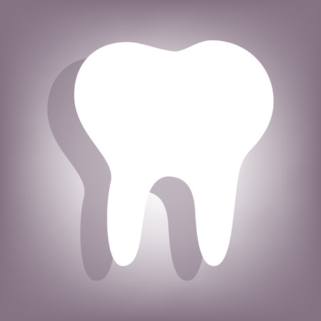 toothcare: Tooth icon with shadow on perple background. Flat style.