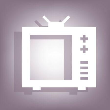 tvset: TV icon with shadow on perple background. Flat style.