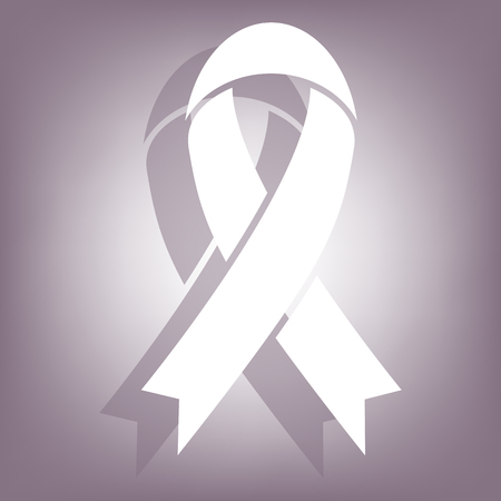 substance abuse awareness: Black awareness ribbon icon with shadow on perple background. Flat style.
