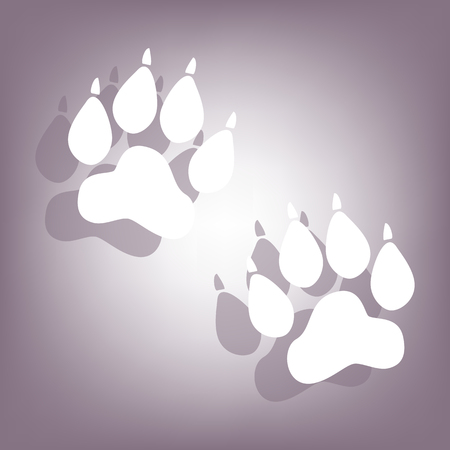 animal tracks: Animal Tracks icon with shadow on perple background. Flat style.