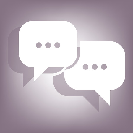 dialog baloon: Speech bubbles icon with shadow on perple background. Flat style. Illustration