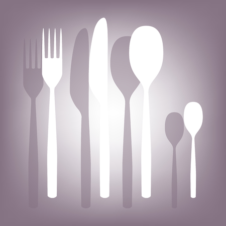 fork and spoon knife: fork spoon knife icon with shadow on perple background. Flat style. Illustration
