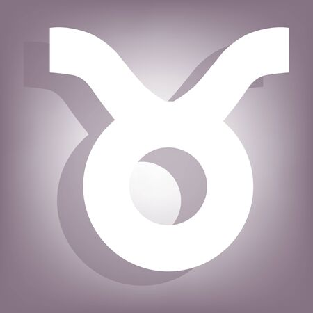 numerology: Zodiac icon with shadow on perple background. Flat style. Illustration