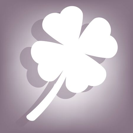 clover icon: Clover icon with shadow on perple background. Flat style.
