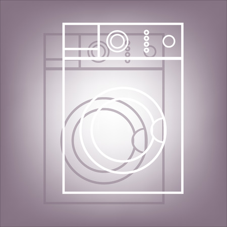 major household appliance: Washing machine icon with shadow on perple background. Flat style. Illustration