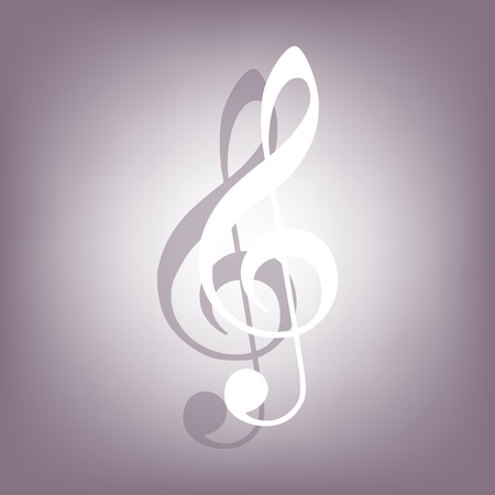 festival scales: Music Clef icon with shadow on perple background. Flat style.