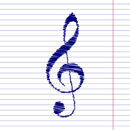 festival scales: Violin clef sign illustration with chalk effect on school paper Illustration