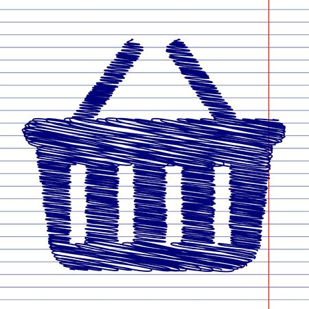 hand grip: Shopping basket sign illustration with chalk effect on school paper
