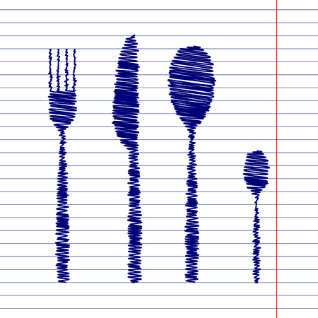 fork and spoon knife: Fork spoon knife sign illustration with chalk effect on school paper