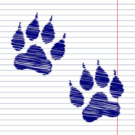 huellas de animales: El animal sigue muestra de la ilustraci�n, con efecto tiza en el papel de la escuela