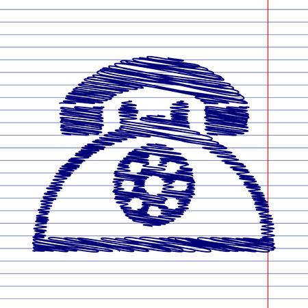 retro telephone: Retro telephone sign illustration with chalk effect on school paper