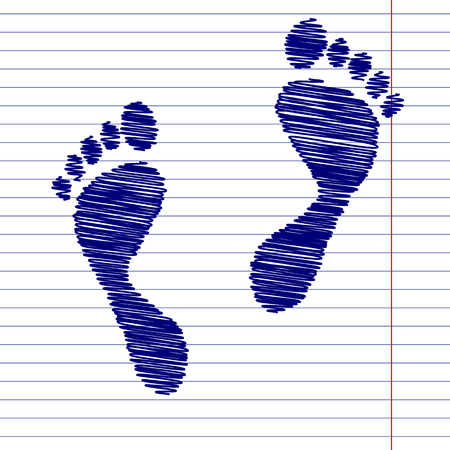 foot prints: Foot prints sign illustration with chalk effect on school paper Illustration