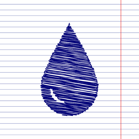refuel: Drop of water sign illustration with chalk effect on school paper Illustration