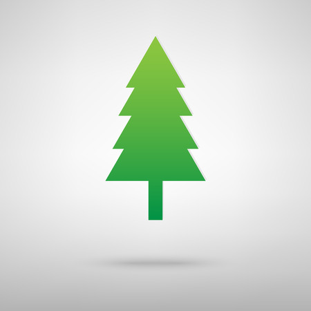 trees silhouette: New year tree icon with shadow on gray background
