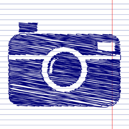 whim: Digital photo camera sign illustration with chalk effect on school paper