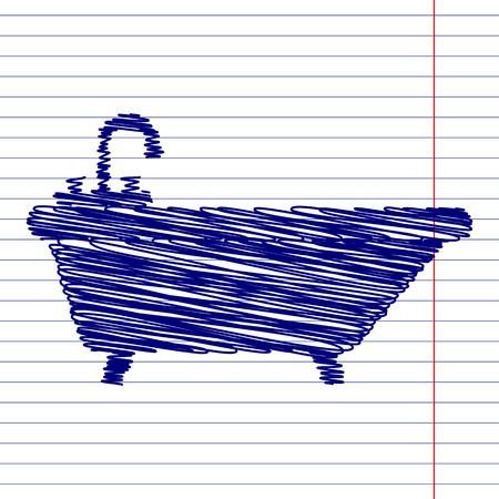 bathtub: Bathtub sign illustration with chalk effect on school paper