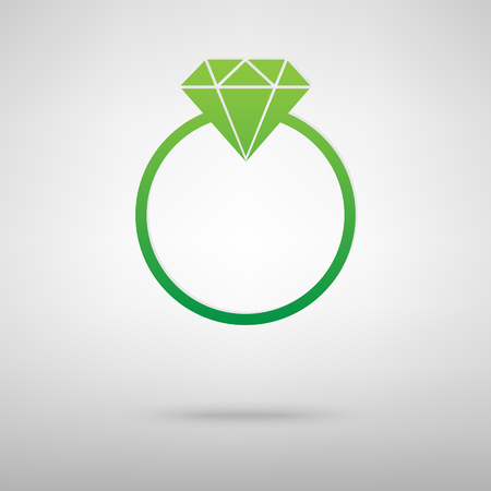 Diamond icon with shadow on gray background Illustration