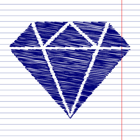 Diamond sign illustration with chalk effect on school paper Illustration