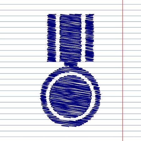 incentive: Medal sign illustration with chalk effect on school paper Illustration