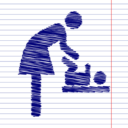 baby changing sign: Women and baby, baby changing sign illustration with chalk effect on school paper Illustration