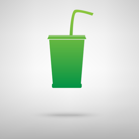 coke: Drink icon with shadow on gray background Illustration