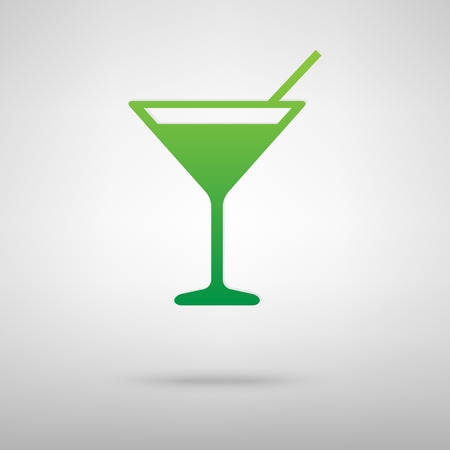 coctail: Coctail icon with shadow on gray background