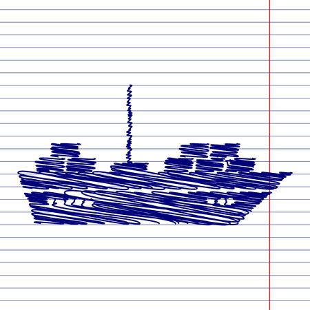ship sign: Ship sign illustration with chalk effect on school paper Illustration