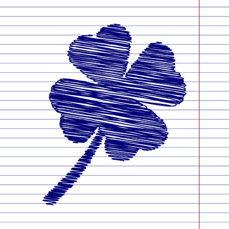 17th: Clover leaf sign illustration with chalk effect on school paper