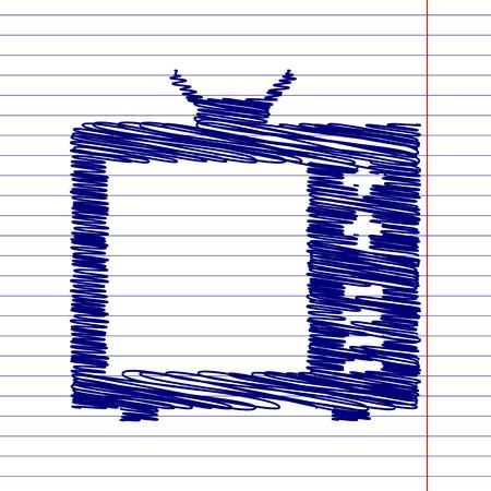 tvset: TV sign illustration with chalk effect on school paper