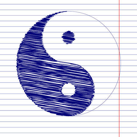 daoism: Ying yang sign illustration with chalk effect on school paper
