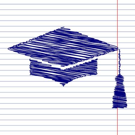 박격포 보드 또는 졸업 모자, 학교 종이에 분필 효과와 교육 기호 그림