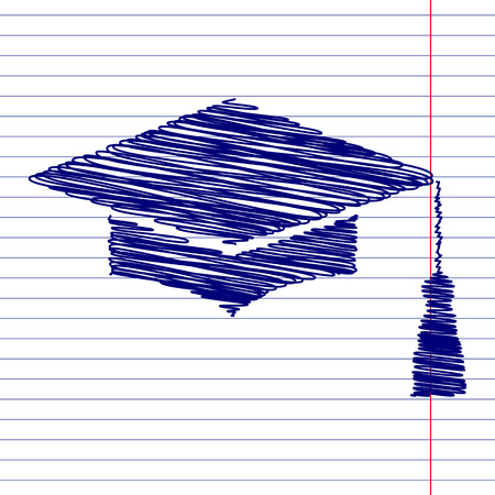 GRADUADO: Junta de mortero o casquillo de la graduación, la ilustración signo de Educación con efectos de tiza en el papel de la escuela